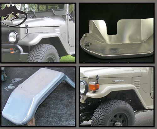 FJ40 FJ45 Fenders Front Pair Stock width Aluminum 1958, 1959, 1960, 1961,  1962, 1963, 1964, 1965, 1966, 1967, 1968, 1969, 1970, 1971, 1972, 1973,